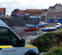 Northumberland broadband van at Craster port