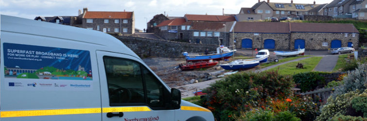 Northumberland broadband van at Craster port