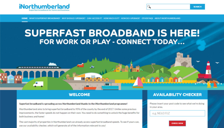 Northumberland broadband iNorthumberland website screenshot