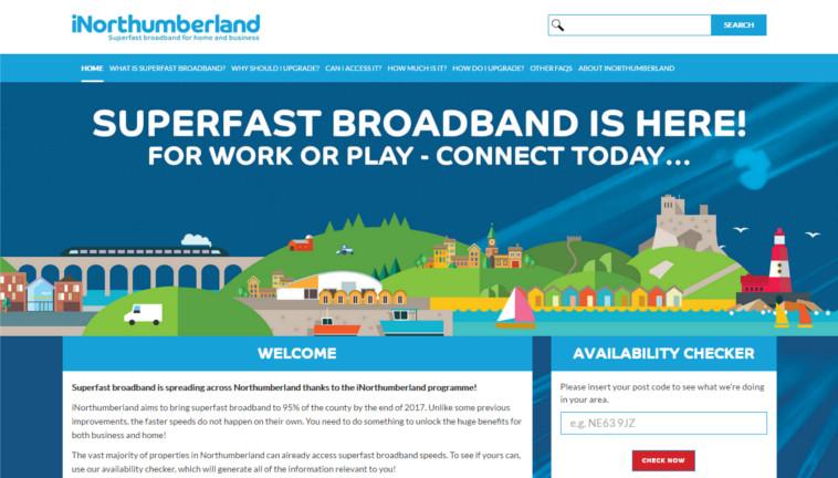 Northumberland broadband iNorthumberland website screenshot