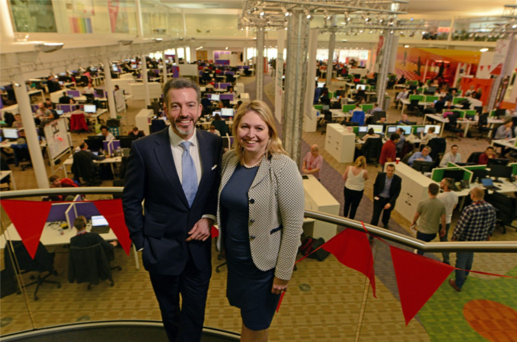 Vodafone call centre with Vodafone UK CEO Nick Jeffrey