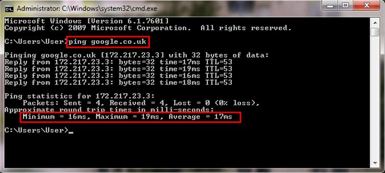Latency - CMD ping box screenshot